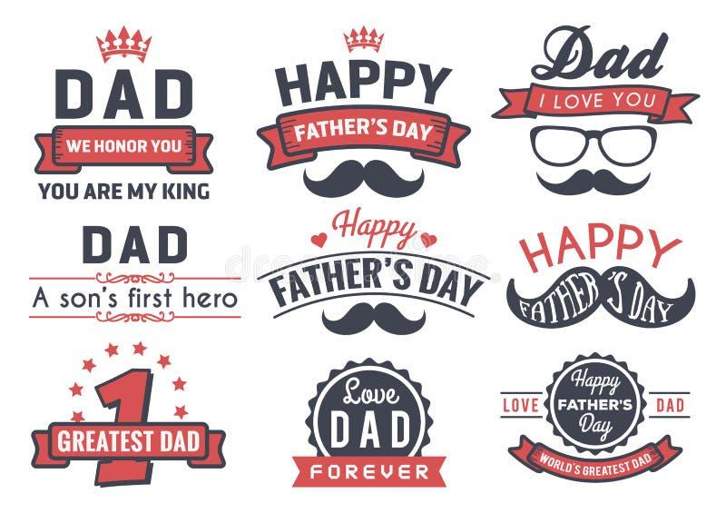 Crachá feliz Logo Vetora Element do dia de pai ilustração stock