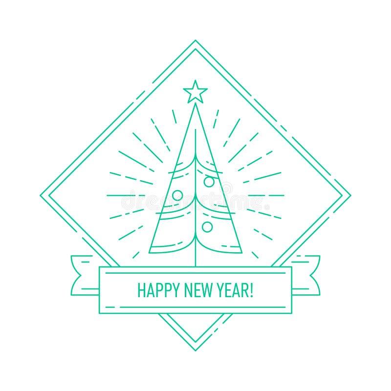 Crachá linear com árvore de Natal ilustração do vetor