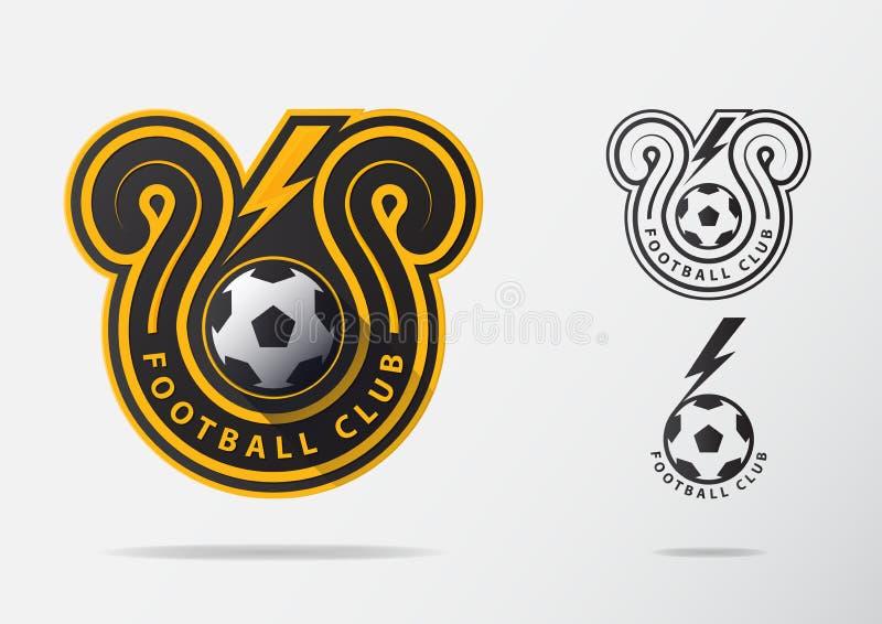 Crachá Logo Design do futebol ou do futebol para a equipa de futebol Projeto mínimo do raio dourado e da bola de futebol preto e  ilustração do vetor
