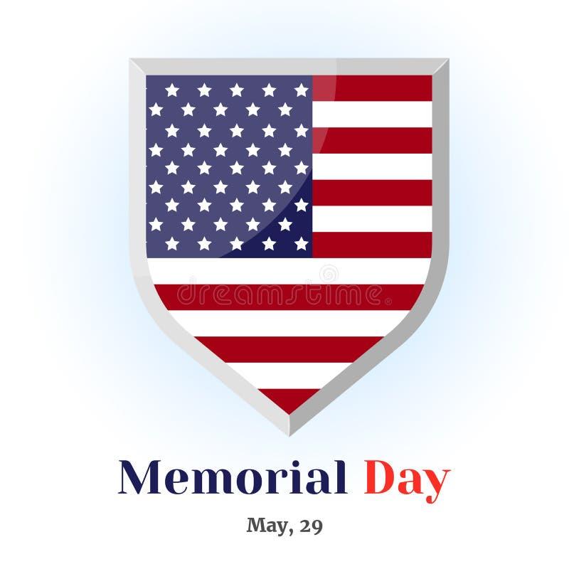 Crachá memorável com bandeira americana Ícone para seu projeto isolado no fundo azul no estilo dos desenhos animados para Memoria ilustração stock