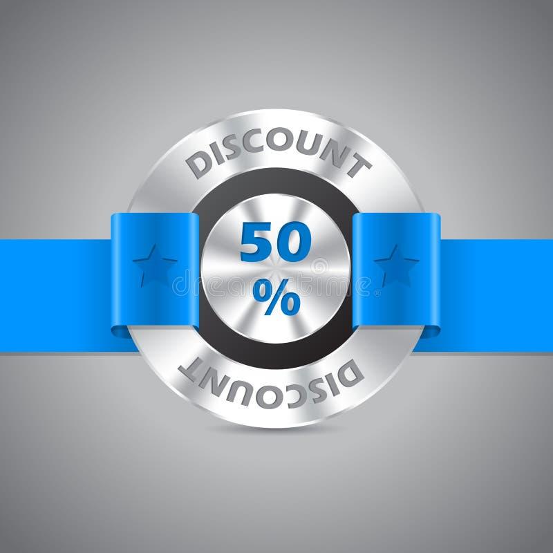 crachá metálico da venda do disconto de 50% ilustração do vetor