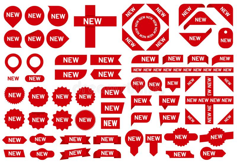 Crachá novo da etiqueta As etiquetas as mais novas da fita da venda da chegada, crachás vermelhos e grupo novo do vetor do sinal  ilustração stock