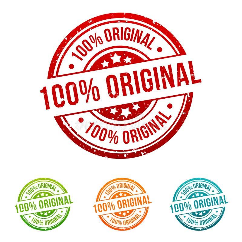 Crachá original da bandeira do botão do selo de 100% em cores diferentes ilustração do vetor