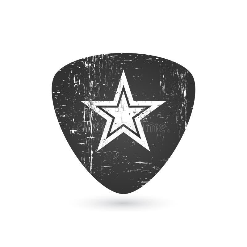 Crachá ou etiqueta da estrela do rock no efeito do grunge mediador da picareta da guitarra Para o signage, as cópias e o selo do  ilustração stock