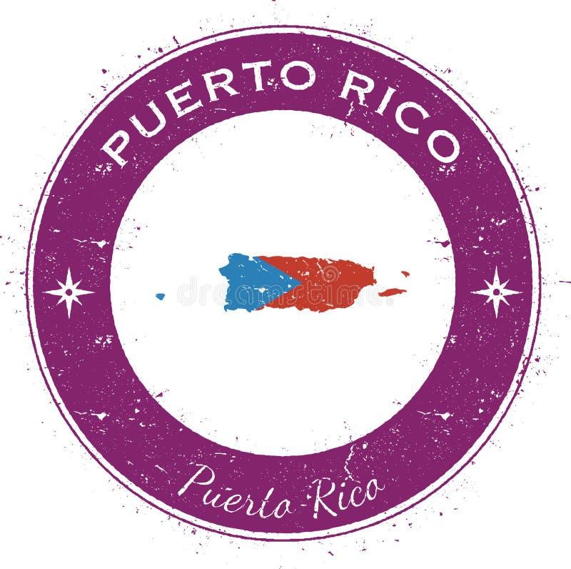 Crachá patriótico circular de Porto Rico ilustração do vetor