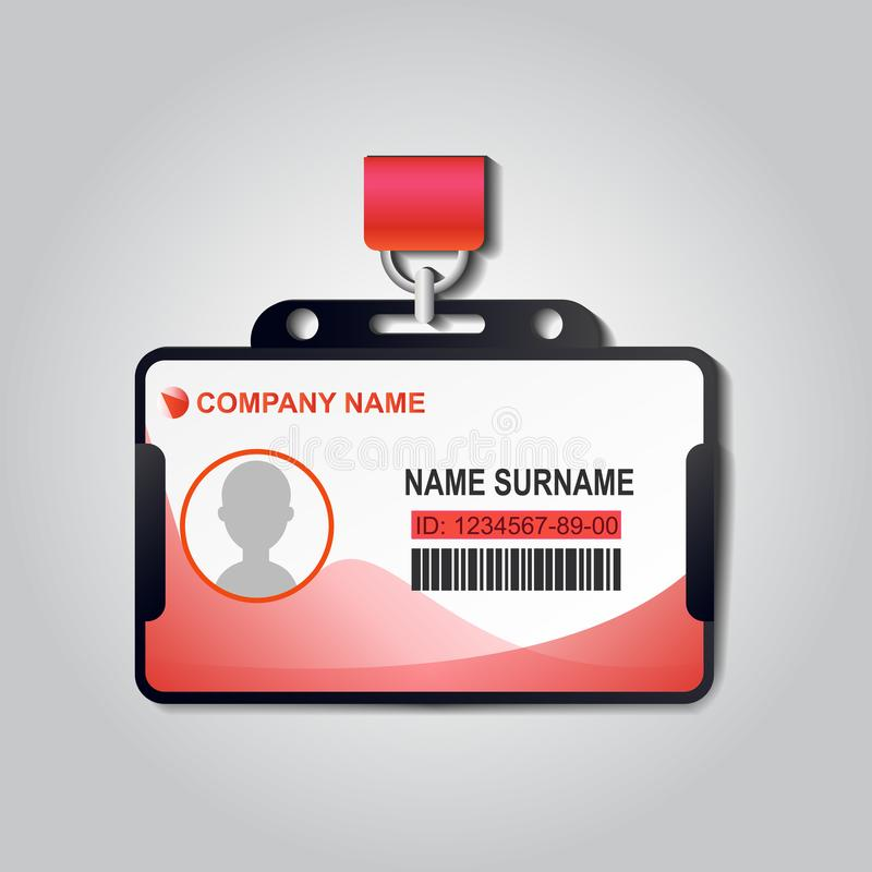 Crachá realístico do cartão da identificação do plástico com vetor da correia Projeto da ilustração do modelo do negócio de Ident ilustração do vetor