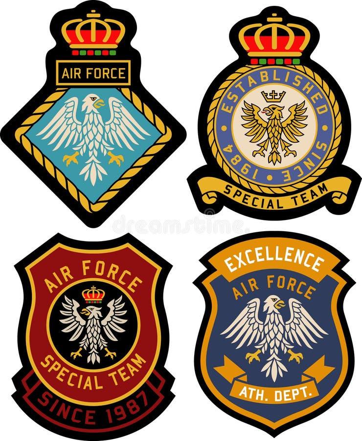 Crachá real clássico do emblema ilustração stock