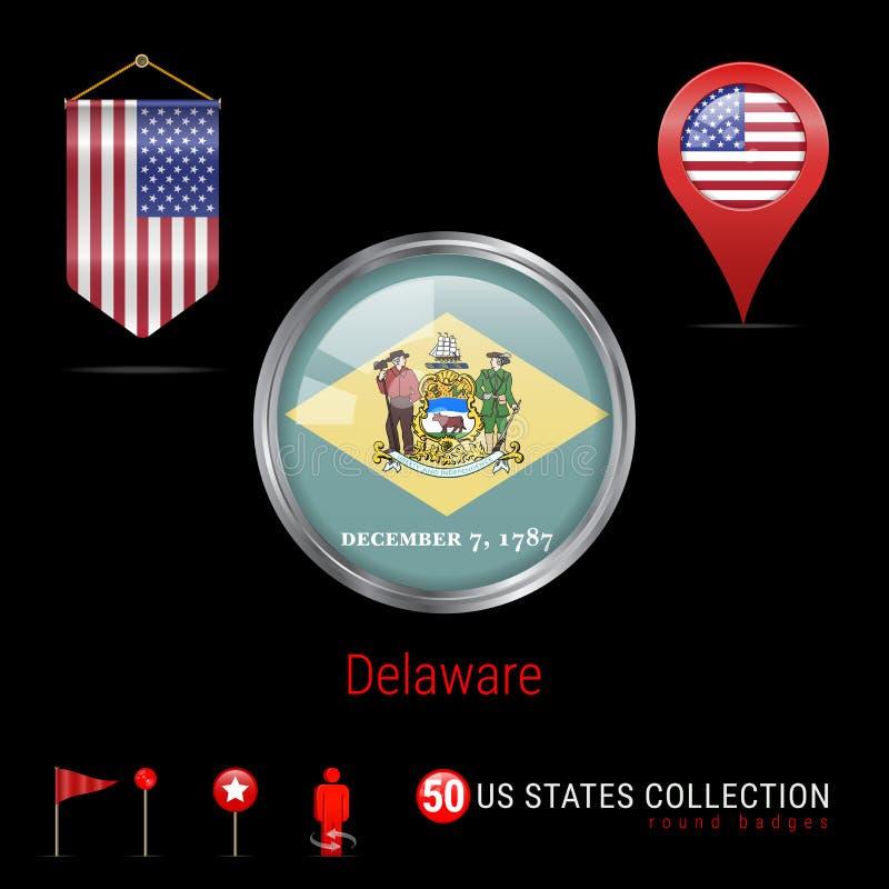 Crachá redondo do vetor de Chrome com a bandeira do estado de Delaware E.U. Bandeira da flâmula dos EUA Ponteiro do mapa - EUA Íc ilustração stock