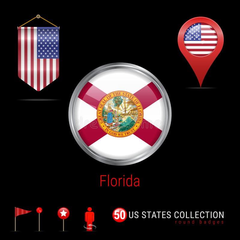 Crachá redondo do vetor de Chrome com a bandeira do estado de Florida E.U. Bandeira da flâmula dos EUA Ponteiro do mapa - EUA Íco ilustração royalty free