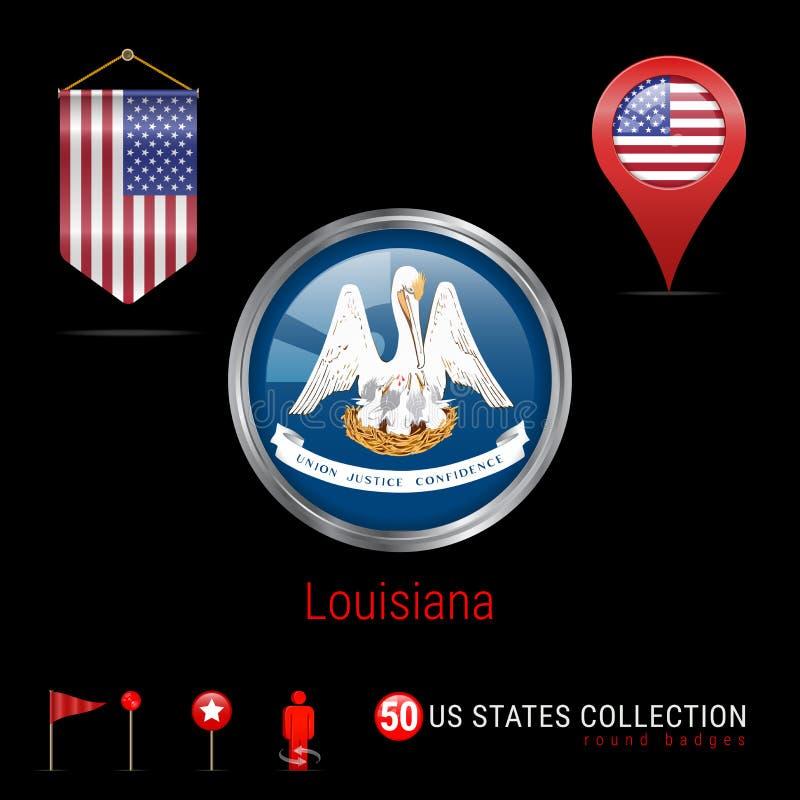 Crachá redondo do vetor de Chrome com a bandeira do estado de Louisiana E.U. Bandeira da flâmula dos EUA Ponteiro do mapa - EUA Í ilustração royalty free