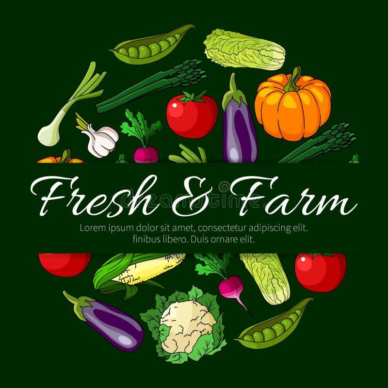 Crachá redondo vegetal com vegetarianos frescos da exploração agrícola ilustração do vetor