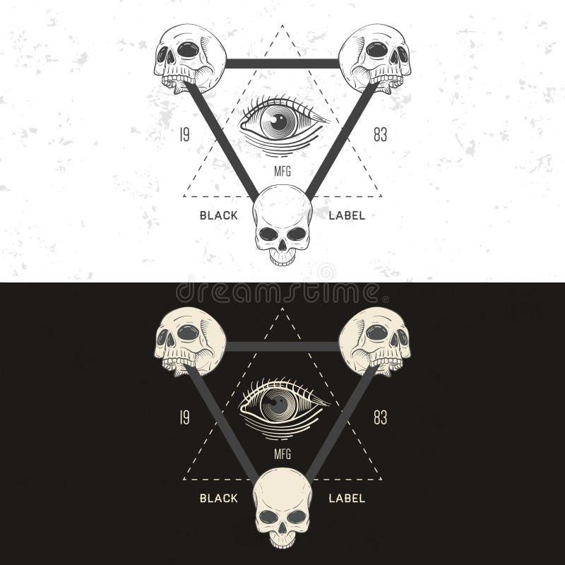 Crachá retro, símbolo ou logotype do vintage com crânio ilustração do vetor