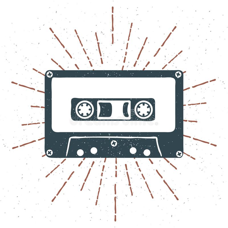 Crachá 90s temático tirado mão com grunge da fita da cassete áudio textured e vetor do sunburst do vintage ilustração stock