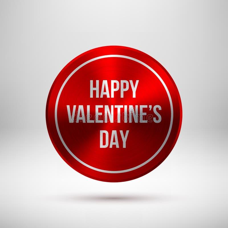 Crachá vermelho dos Valentim com texto do cumprimento ilustração stock
