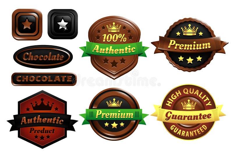 Crachás autênticos superiores do chocolate ilustração royalty free