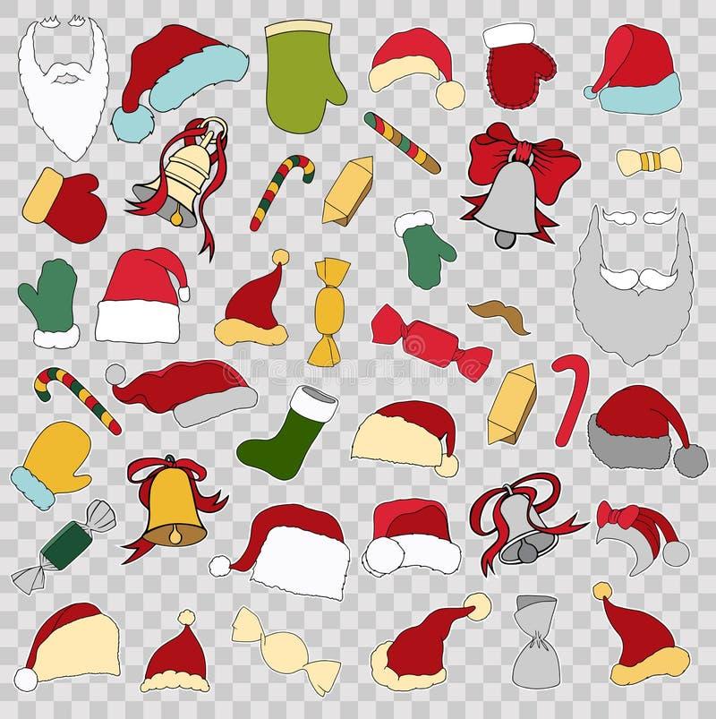 Crachás coloridos do remendo do Feliz Natal diferente ilustração do vetor
