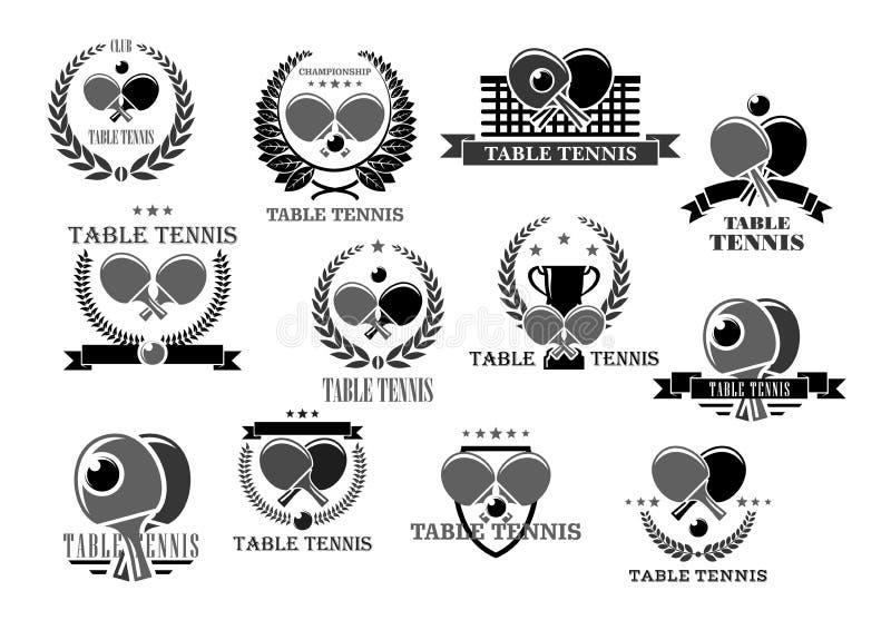 Crachás da concessão do competiam dos ícones do vetor do tênis de mesa ilustração royalty free