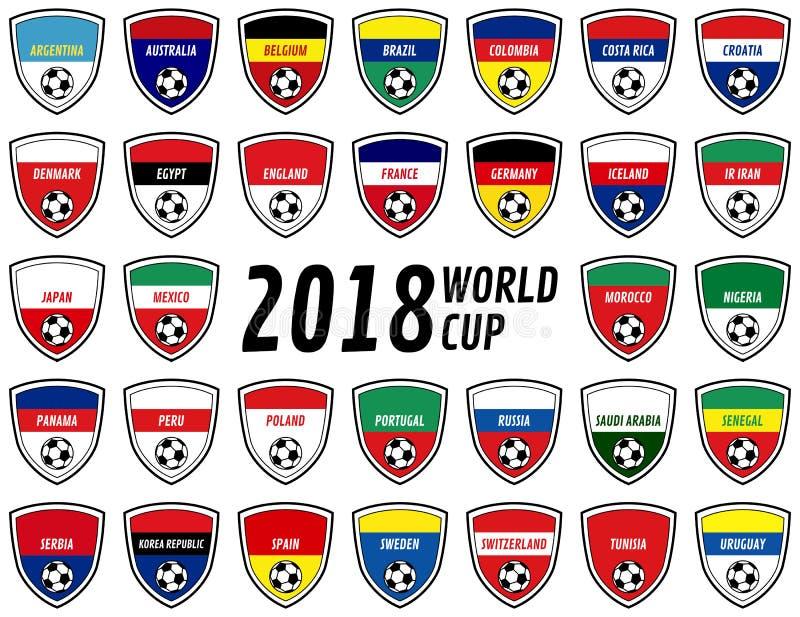 Crachás da equipe de Rússia de 2018 campeonatos do mundo ilustração stock