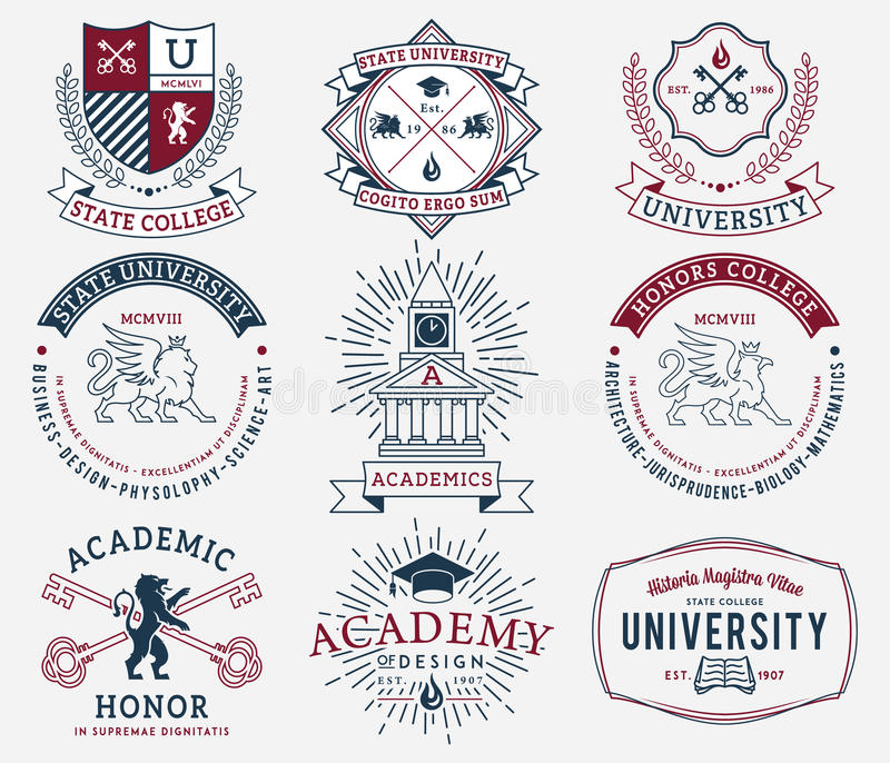 Crachás 2 da faculdade e da universidade coloridos fotos de stock royalty free