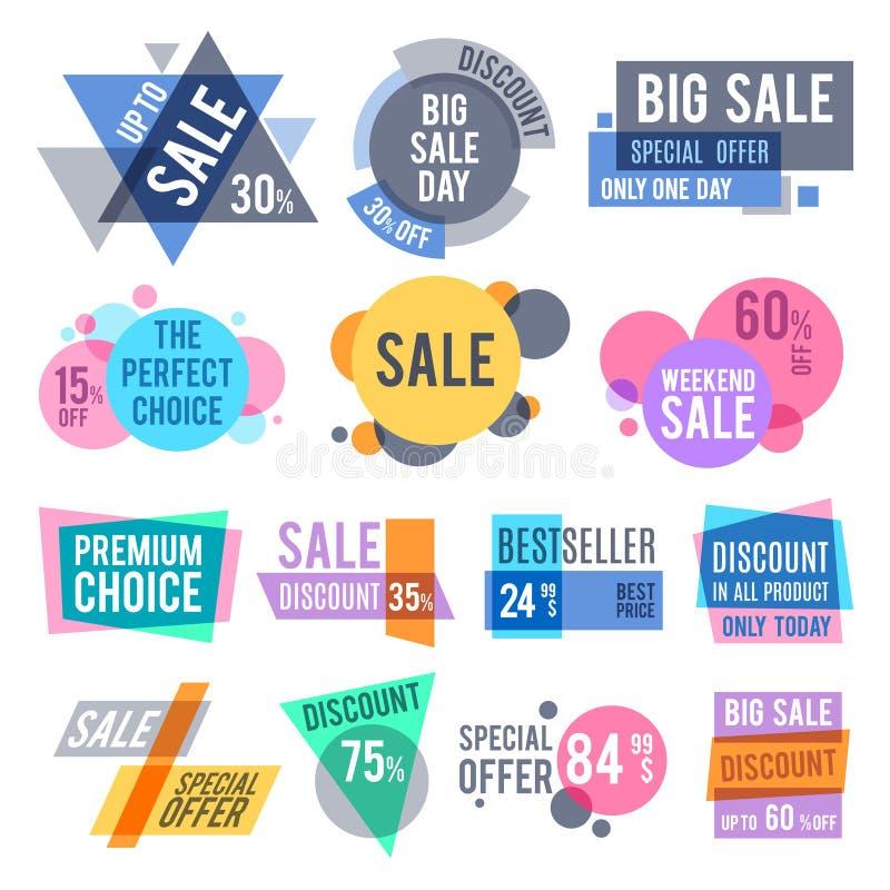 Crachás da promoção, as melhores etiquetas da oferta e do preço e o grupo do vetor das etiquetas do disconto ilustração stock