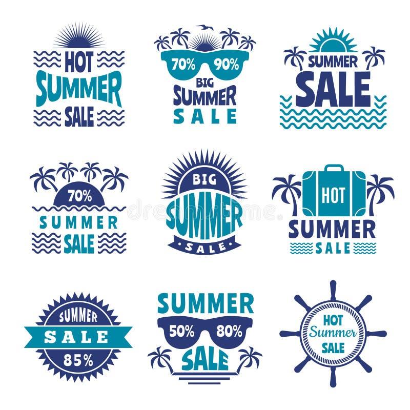 Crachás da venda do verão Imagens da propaganda do vetor ilustração stock