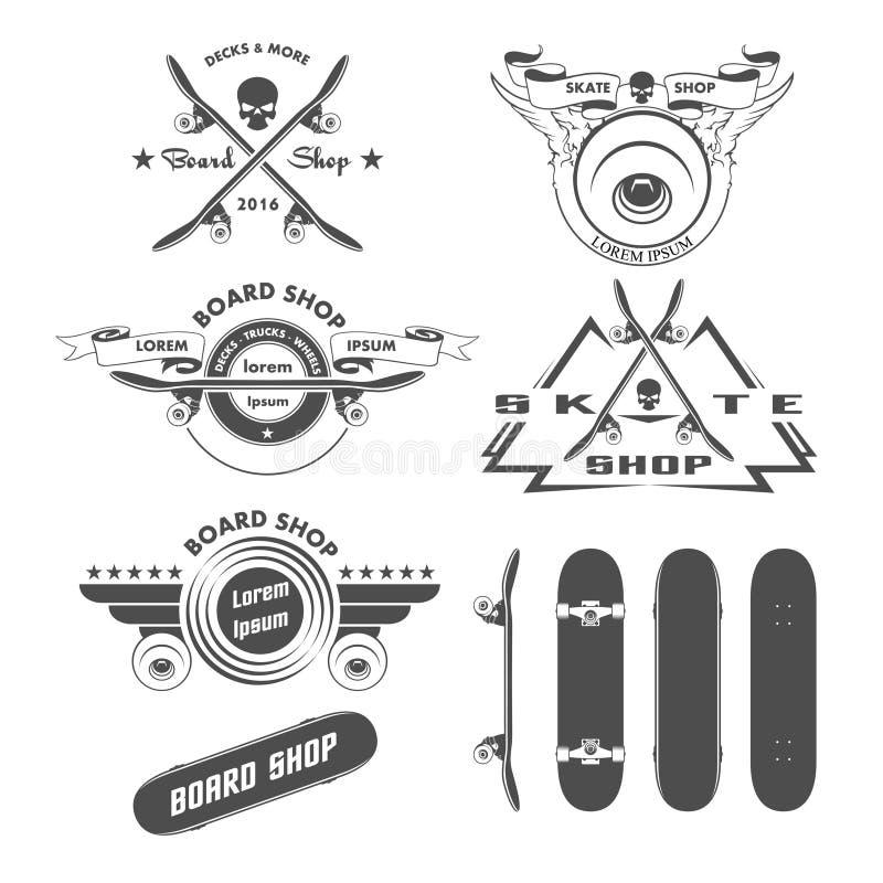 Crachás das etiquetas e elementos Skateboarding do projeto ilustração stock