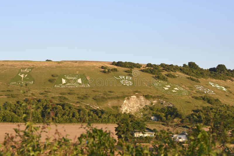 Crachás de Fovant perto de Salisbúria, Wiltshire, Inglaterra imagem de stock royalty free