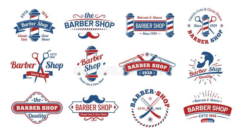 Crachás do barbeiro Etiqueta do barbeiro do vintage, crachá retro do salão de beleza da barbeação e grupo velho da ilustração do  ilustração do vetor