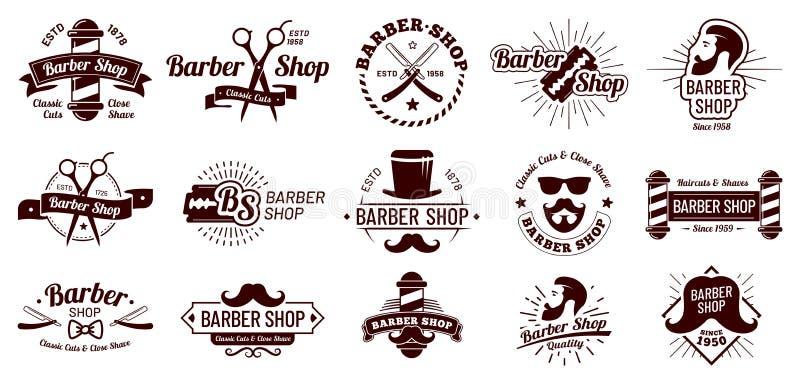Crachás do barbeiro do vintage Denominação do corte de cabelo do cavalheiro, lâmina do barbeiro e salão de beleza da barbeação Eq ilustração do vetor