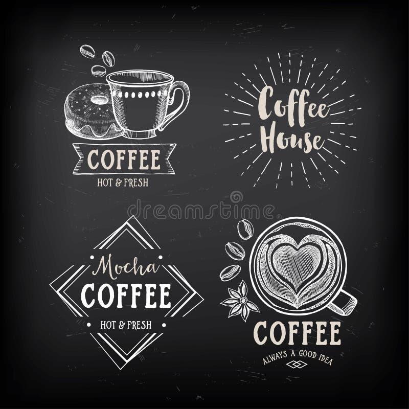 Crachás do café do restaurante do café, projeto do molde ilustração royalty free