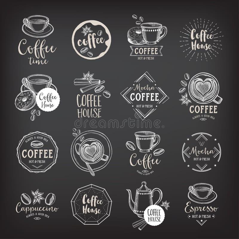 Crachás do café do restaurante do café, projeto do molde ilustração stock