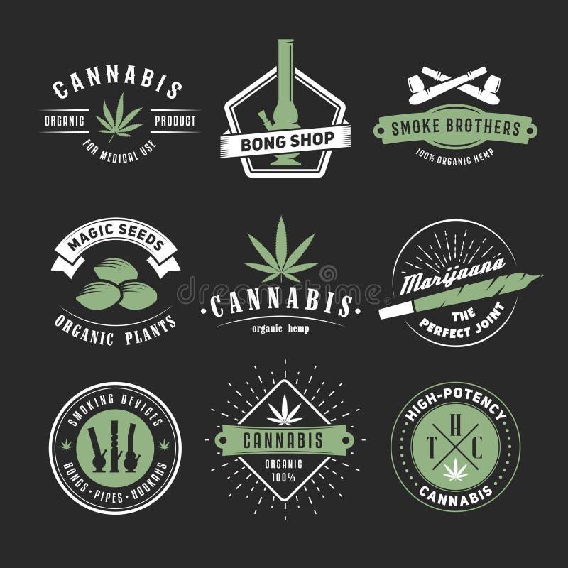 Crachás do cannabis do vetor imagem de stock
