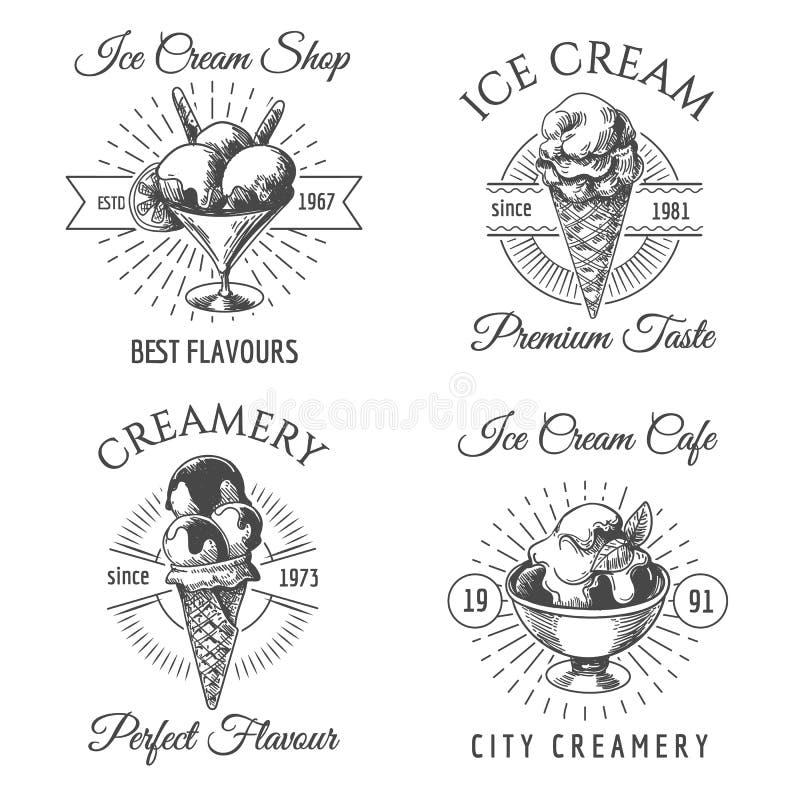 Crachás do esboço do gelado ilustração stock