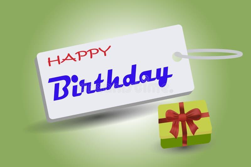 Crachás do feliz aniversario com caixas de presente ilustração do vetor