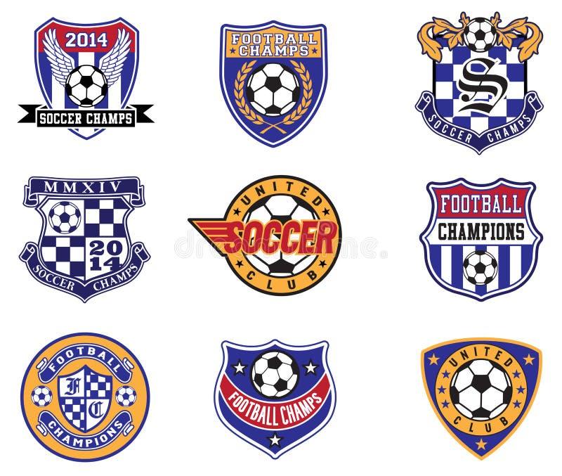 Crachás do futebol do futebol, remendos e grupo do vetor do emblema ilustração royalty free