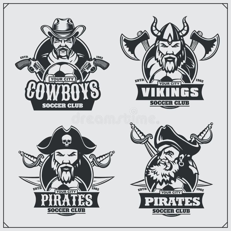 Crachás do futebol, etiquetas e elementos do projeto Emblemas do clube de esporte com pirata, vaqueiro e viquingue ilustração royalty free