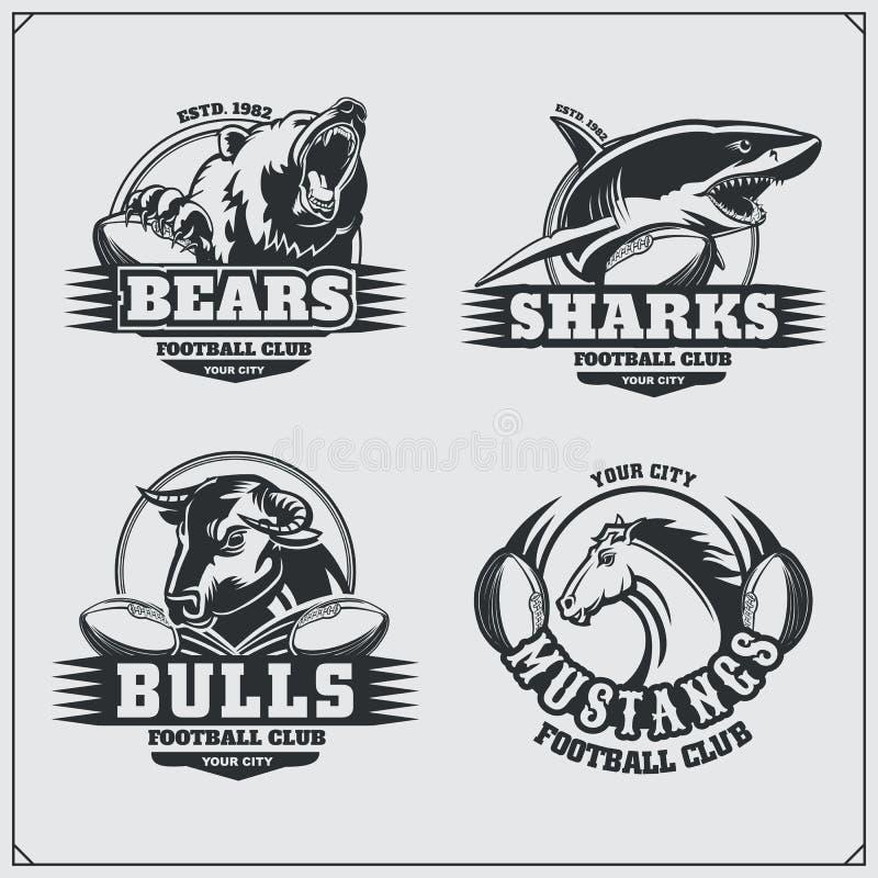 Crachás do futebol, etiquetas e elementos do projeto Emblemas do clube de esporte com urso, tubarão, touro e cavalo ilustração royalty free