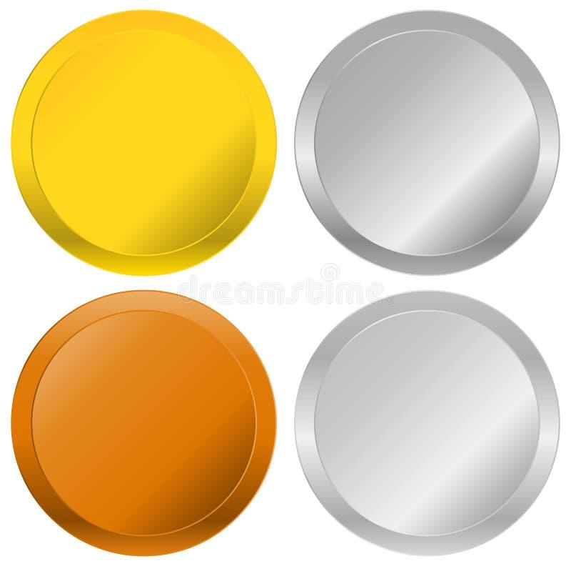 Crachás do ouro, da prata, do bronze e da platina, selos, botões ilustração do vetor