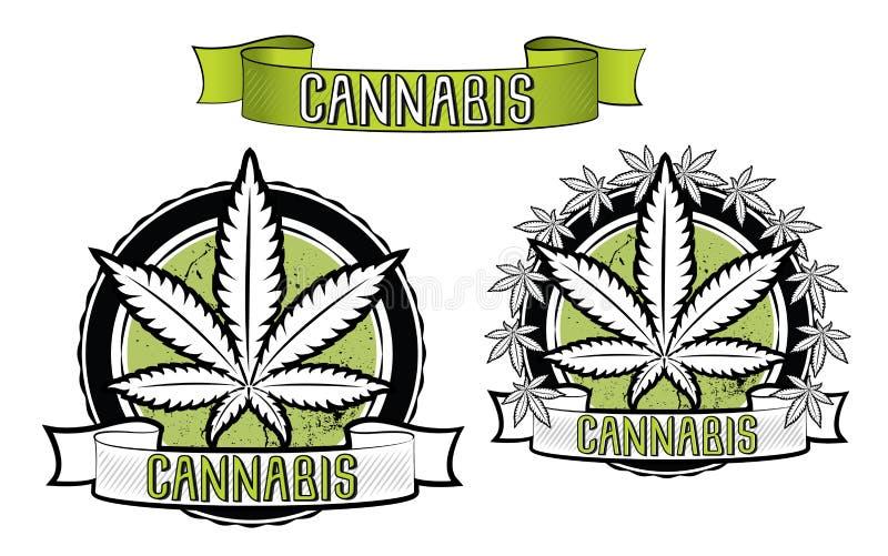 Crachás do projeto da marijuana e da folha do ganja  fotos de stock