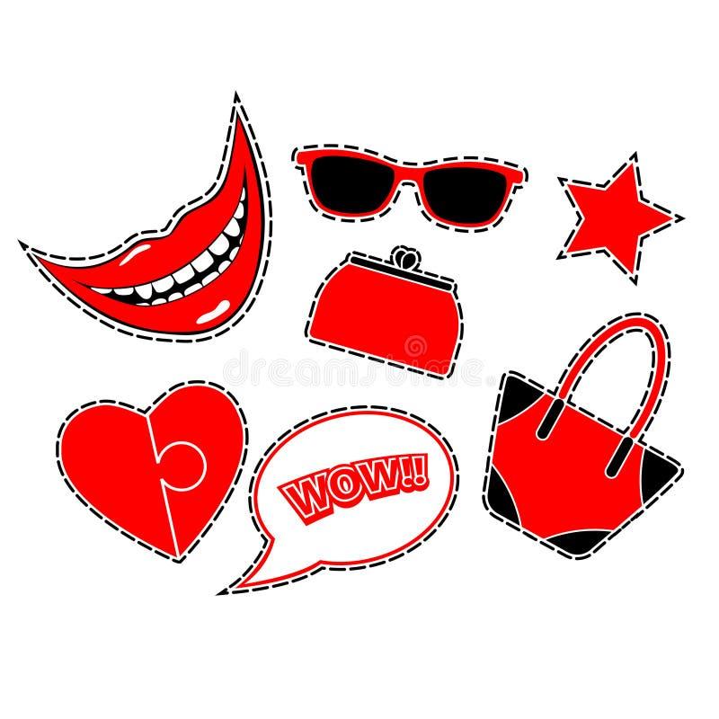 Crachás do remendo da forma com sorriso, coração, bolha do discurso uau, estrela, sacos e vidros Ilustração lisa do vetor isolada ilustração do vetor