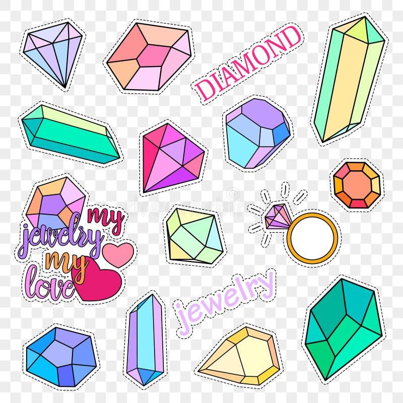 Crachás do remendo da forma Diamantes e grupo da joia As etiquetas, pinos, remendam coleção escrita à mão das notas nos desenhos  ilustração do vetor