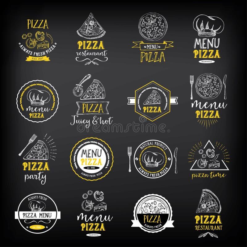 Crachás do restaurante do menu da pizza Molde do projeto do alimento ilustração royalty free