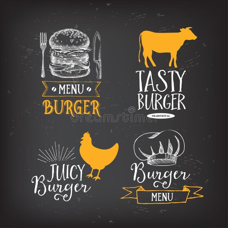 Crachás do restaurante do menu do hamburguer Molde do projeto do fast food ilustração do vetor