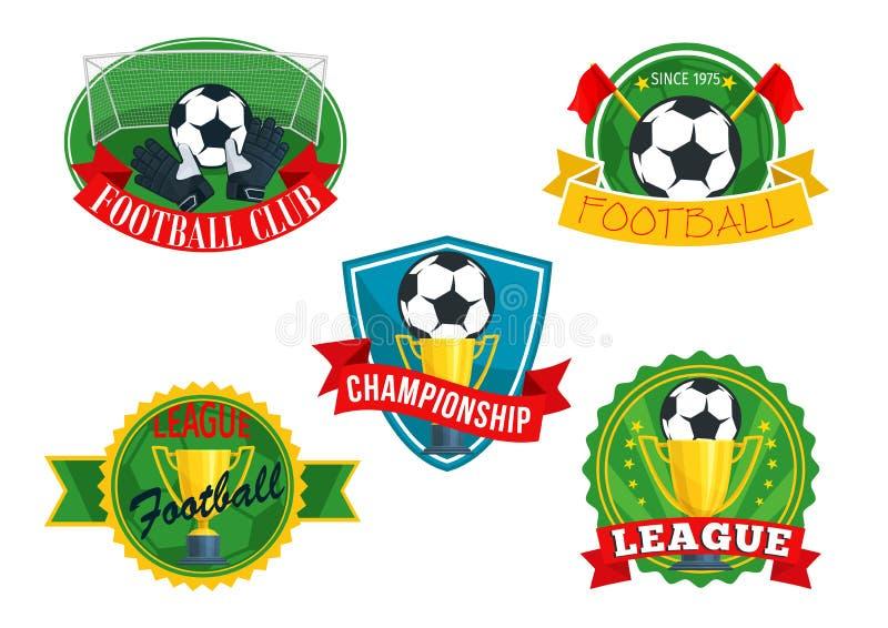 Crachás dos ícones do vetor para o campeonato do clube do futebol ilustração royalty free