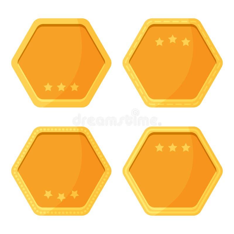 Crachás dourados com estrelas Ilustração do vetor ilustração stock