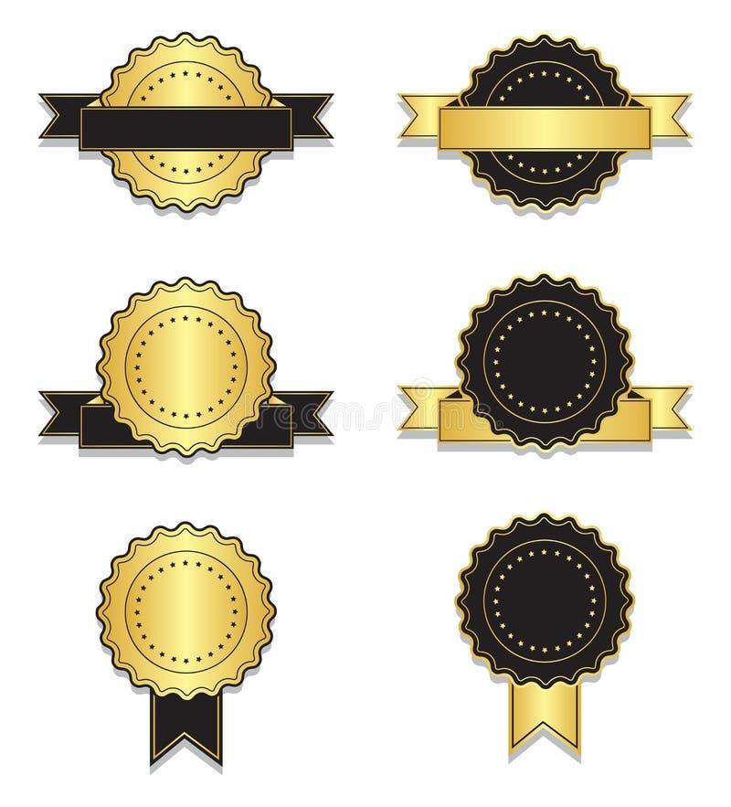 Crachás dourados e pretos do vintage com fita ilustração stock