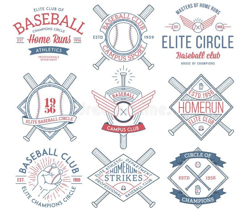 Crachás e ícones do basebol imagem de stock royalty free