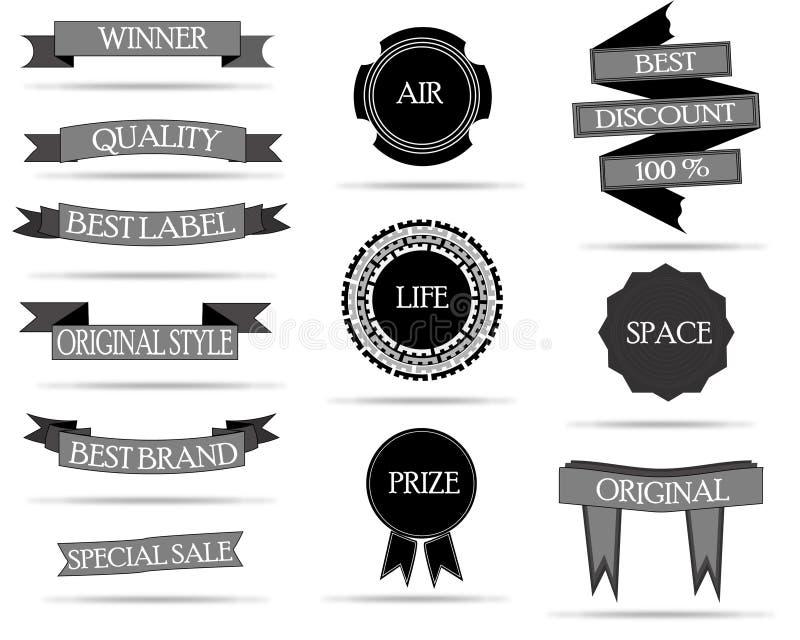 Crachás e coleção das etiquetas imagens de stock