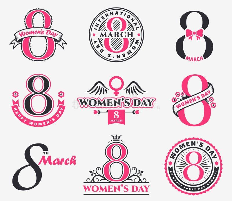 Crachás e emblemas do dia do ` s das mulheres ilustração royalty free