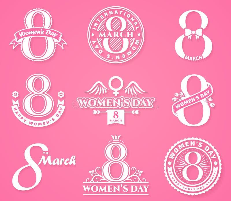 Crachás e emblemas do dia do ` s das mulheres ilustração stock